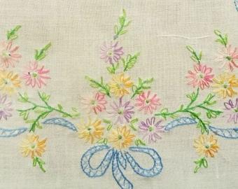 Fine Vintage Linen Runner Hand Embroidered, Crochet Trim