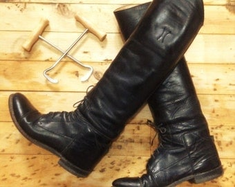 Woman Effingham Field Riding Pull On Tall Boots & Hooks - Luxurious Black Leather - Made in the USA - 8