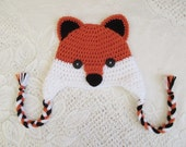 Red Fox Crochet Hat - Wildlife Animals - Winter Hat or Photo Prop - Available in Any Baby to Toddler Size - Any Color Combination