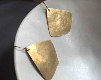 Hammered Brass ginko Shape Earrings, Elegant, Simple Gold Earrings