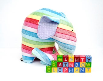 Rainbow Jumbo Elephant cuddly toy, OOAK stuff nursery decor huge huggable elephant