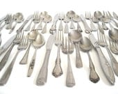 Cottage Chic Stainless Silverware Set Mismatched Flatware Service for 12, 8, 4 or Single Place Settings