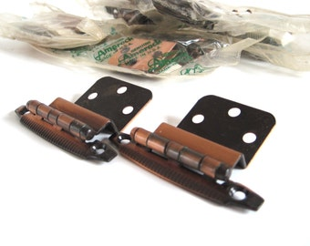 Amerock Hinges Antique Copper Cabinet Hardware 1960s Atomic Mid Century Modern Semi Concealed