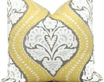 Pillow Cover, Yellow Kavali Ogee by Robert Allen Square Pillow, Lumbar Pillow, Eurosham- Accent Pillows, Throw Pillows, Toss Pillows