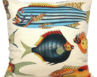 Colorful Tropical Blue, Yellow, Orange Fish Decorative Pillow Cover  20x20 toss pillow, accent pillow, throw pillow