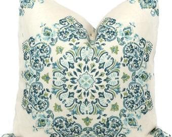 Decorative Pillow Covers Blue, Green, Aqua Medallion, Toss Pillow, Accent Pillow, Throw Pillow, Pillow sham, Ronnie Gold pillow