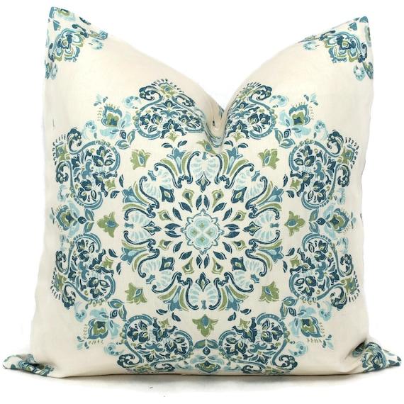 Blue Medallion Throw Pillows : Decorative Pillow Covers Blue Green Aqua Medallion Toss