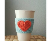 Crochet Coffee Sleeve Cup Sleeve with Heart Crochet Accessory