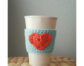 Crochet Coffee Sleeve Cup Sleeve with Heart Crochet Accessory