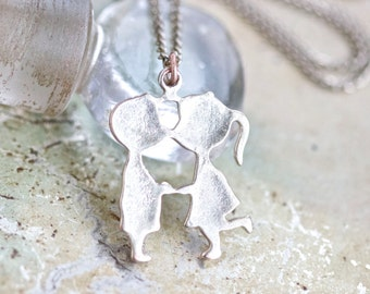 The Kiss of Love - Boy & Girl Kissing Pendant on Silvery Chain Necklace