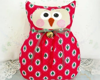 Christmas OWL Doll, Owl Pillow, Soft Sculpture, 9 inch, Red and Trees Print,  Primitive Handmade CharlotteStyle Decorative Folk Art