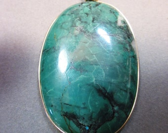 Vintage Turquoise Pendant gold wire wrap 144ct