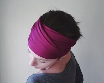 FUCHSIA Jersey Headband - Magenta Hair Wrap - Fuchsia Jersey Head Scarf - Bohemian Hair Covering - Extra Wide Womens Hair Accessories