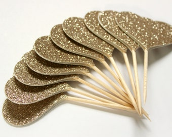 10 Champagne Gold Cupcake Toppers, Rose Gold, Great Gatsby Party, Wedding Decor
