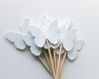 White Butterfly Cupcake Toppers, Minimalist Chic, Spring Wedding, Set of 12