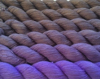 Gradient yarn set - cashmere/mulberry silk, handdyed yarn lace 150g- hand painted dyed shawl ombre - From brown to lilac.