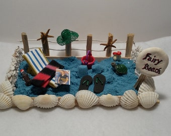 Fairy Beach Day With Magic Blue Sand and Fun In The Sun Miniatures For The Fairy Garden or Doll House