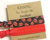 Bachelorette Party Favors - Kiss the Single Life Goodbye - Bachelorette Party Hair Tie - Red Lips Kiss - Survival Kit Favor - Hair Tie Favor
