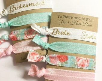 Bride Card - Bride Gift - Bride Hair Tie Favors - Gift for Bride - Elastic Hair Ties - Vintage Floral - To Have and To Hold