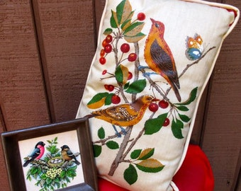 Birds pillow and picture Vintage decor oblong rectangle pillow small square art printed birds Audubon style nature decorative Mama gift art