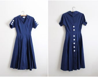 50s Sailor Nautical Dress / Navy Blue Dress / 1950s Full Skirt Dress / Size XS/S