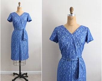 Vintage 1950s Dress / Blue Magic Lace Dress / Cocktail Dress/ 50s Party Dress/ 1950s Dress/ Size S/M