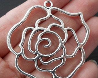 "2pcs- 1.75"" Filigree Flower charm pendant-Antique silver metal Charm-ALK 2857"