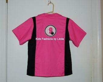 Birthday Girl Hot Pink/Black Bowling Shirt