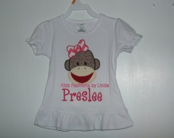 Personalized Girl Sock  Monkey with Chevron Pink Bow White Long Sleeve or Short Sleeve Shirt