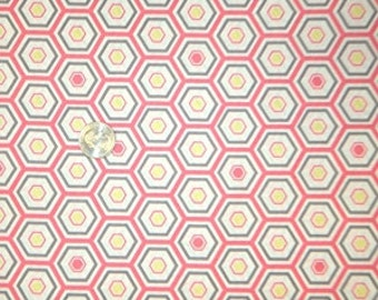 05070 -Camelot Fabrics Penelope Honeycomb in white pink and gray   color    - 1 yard