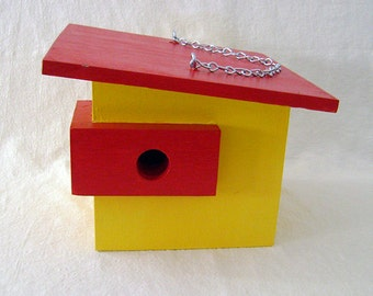 MODERN WOOD BIRDHOUSE, Yellow and Red, Handmade, Ready to Ship