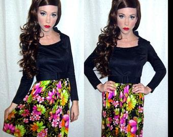 VTG 60s Floral OP ART Psychedelic Mod Twiggy Party Mini A-Line Dress