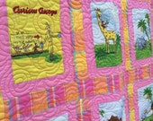 Curious George Blanket, Curious George Visits the Zoo, Curious George Bedding, Curious George Vintage Fabric, Curious George  Baby Quilt