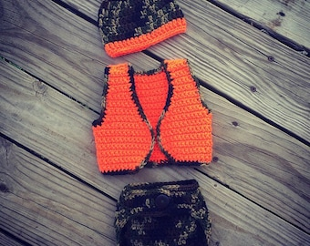 Newborn Baby Little HUNTER'S Crochet CAMO Orange Beanie Hat, Vest and Diaper Cover Set ~ Cute Photo Prop
