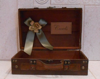 Rustic Card Trunk  / Wedding Card Box/ Wedding Decor / Wedding Card Holder /Vintage Style Wedding Card Trunk / Gift Table / Sage Green