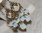 Opalite Earring Moon Opal Chandelier Earrings with Antique Brass
