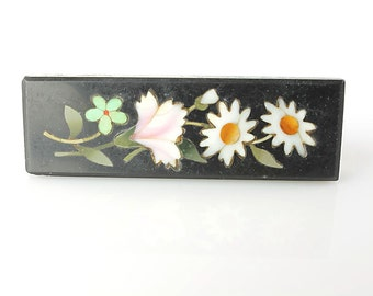 Victorian Pietra Dura Brooch, Micro Mosaic, Antique Brooch Jewelry, Flower Daisy Carnation