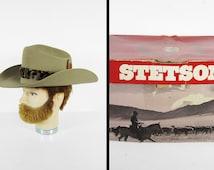 Vintage Stetson Beaver Hat XXX Feather Band Cowboy Hat with Original Box - Size 7