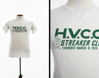 Vintage 70s Streaker Club T-shirt HVCC Community College Tee - Size Small / Medium