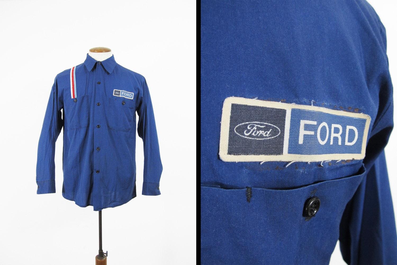 Vintage ford mechanic shirt blue cotton button up long sleeve for Cotton button up shirt