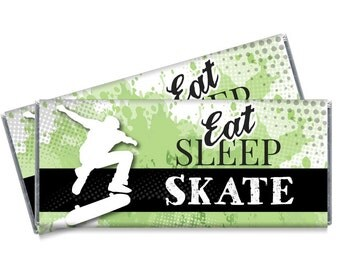 Eat Sleep Skate Candy Bar Wrappers - Skate Birthday Party Favors - Set of 12