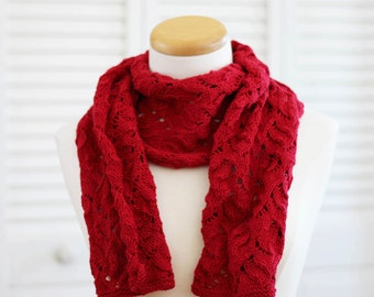 Knitting Pattern Scarf, Red Merino Wool