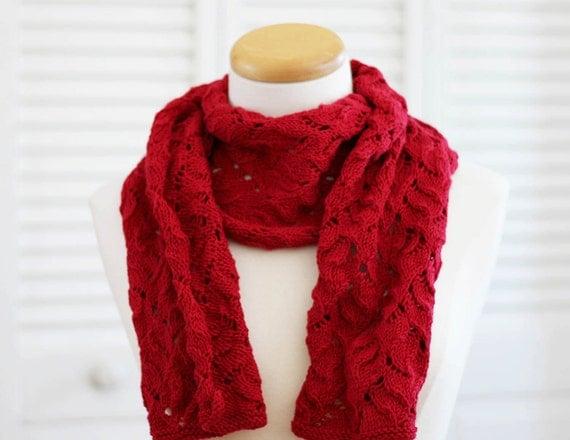 Patron tricot foulard - tricoter un foulard - modèle tricot - Laine Merino rouge