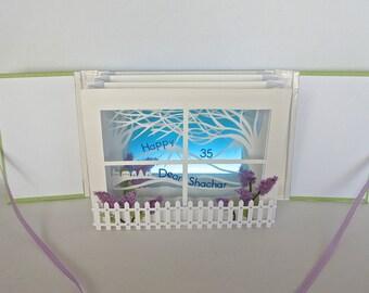 Happy 35th Birthday TUNNEL BOOK CARD Gift ORIGiNAL DeSIGN CUSToM ORDeR Handmade Artistic in White Blue Green and Purple Home Decor OOaK