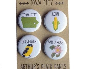 Iowa City, Iowa state love, Iowa love magnet set, Iowa city icons, Iowa city pride magnet set