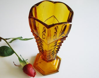 Vintage, Amber Glass Vase, Art Deco, Chevron, George Davidson, Pattern 295, Made in England