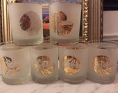 Nautical coastal nautilus and shell vintage lowball glasses