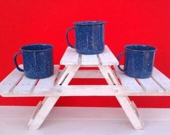 Vintage enamelware mugs - enamelware cups - blue enamelware - camping mugs - camping dishes -  graniteware - blue kitchen - set of 3