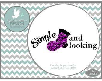 Single and Looking Sock with Zebra Laundry Room LL028 B - SVG - Cutting File -  Includes ai, eps, svg, dxf (for Silhouette users), jpg, png