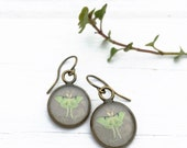 Bronze LUNA MOTH Earrings gray mint green / subtle and delicate earrings / Butterfly Moth nature jewelry